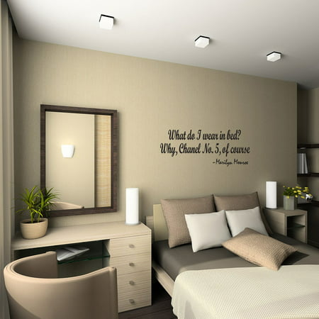 What Do I Wear In Bed Wall Quote Decal Marilyn Monroe Bedroom Decor