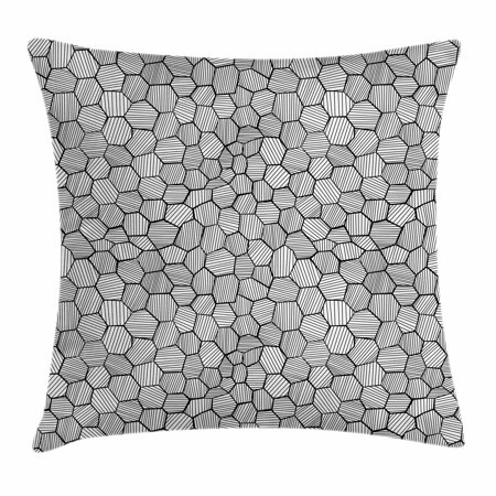Geometric Throw Pillow Cushion Cover, Hand-Drawn Sketch Deformed Hexagon Shapes Inspired From Honeycomb Structure, Decorative Square Accent Pillow Case, 18 X 18 Inches, Black and White, by Ambesonne - Shape Of A Honeycomb