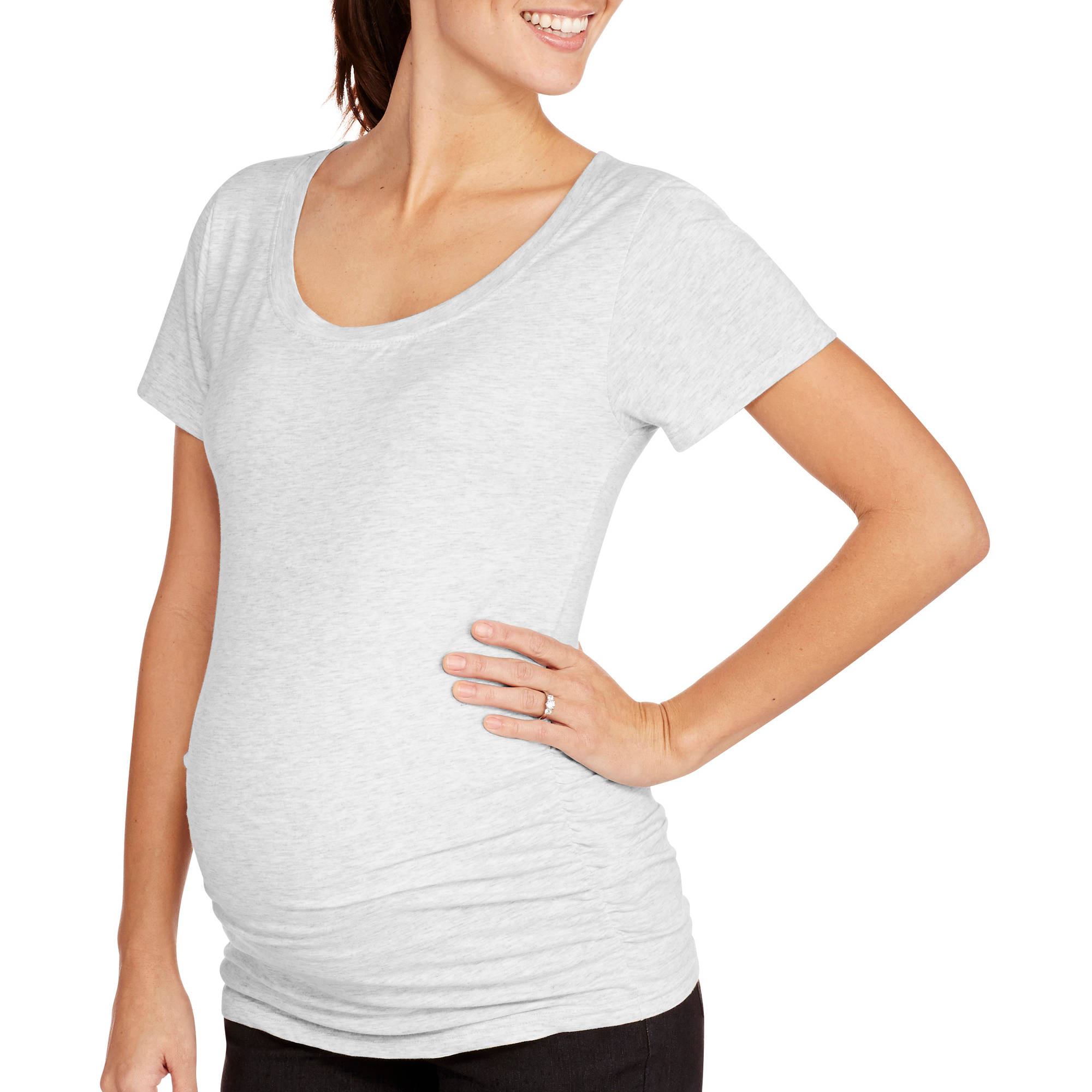 Oh! Mamma Maternity Short Sleeve Tee with Flattering Side Ruching-- Available in Plus Size
