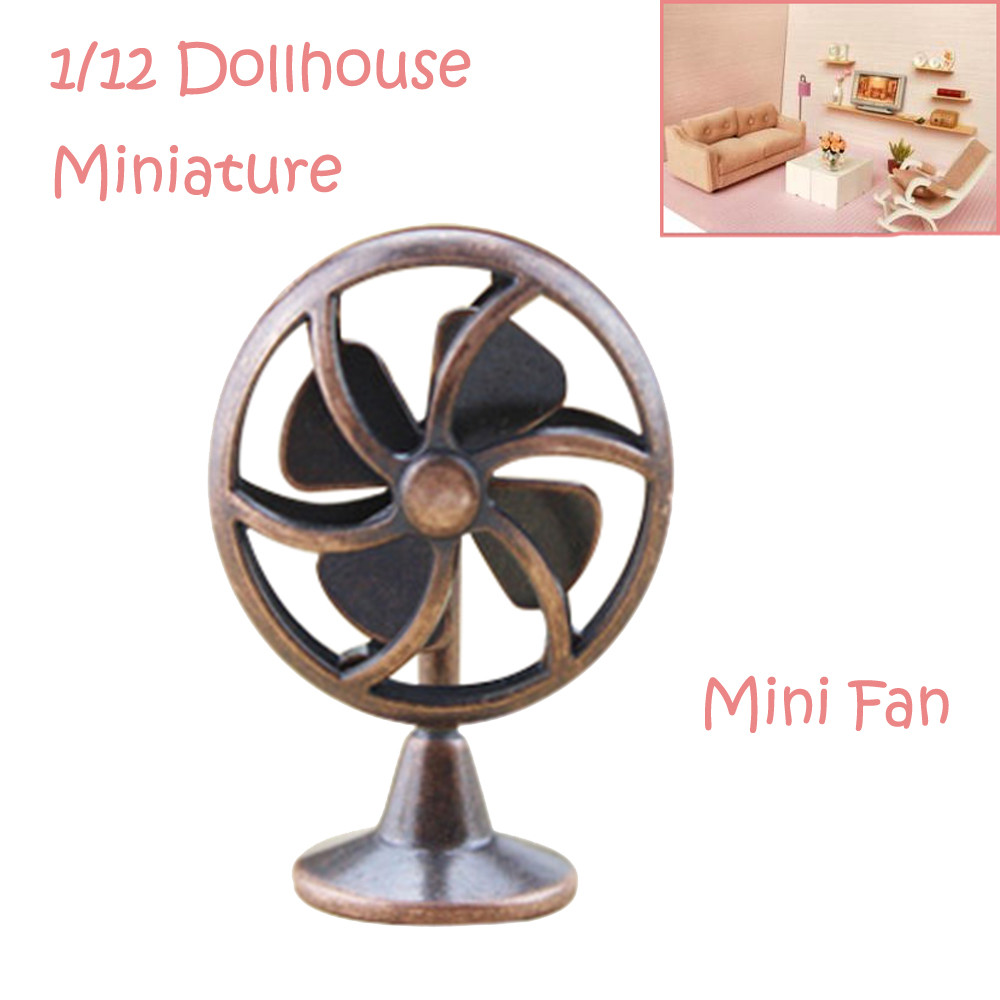 Mosunx 1/12 Miniature Dollhouse Accessories Mini Old Fashioned Lobby Fan Gift Toy