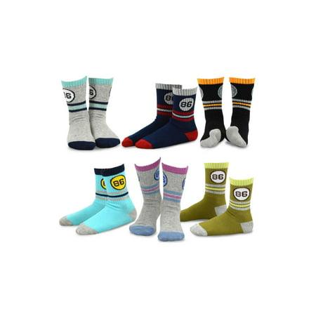 TeeHee Kids Boys Stripe Cotton Crew Socks 6 Pair Pack - Striped Socks Kids
