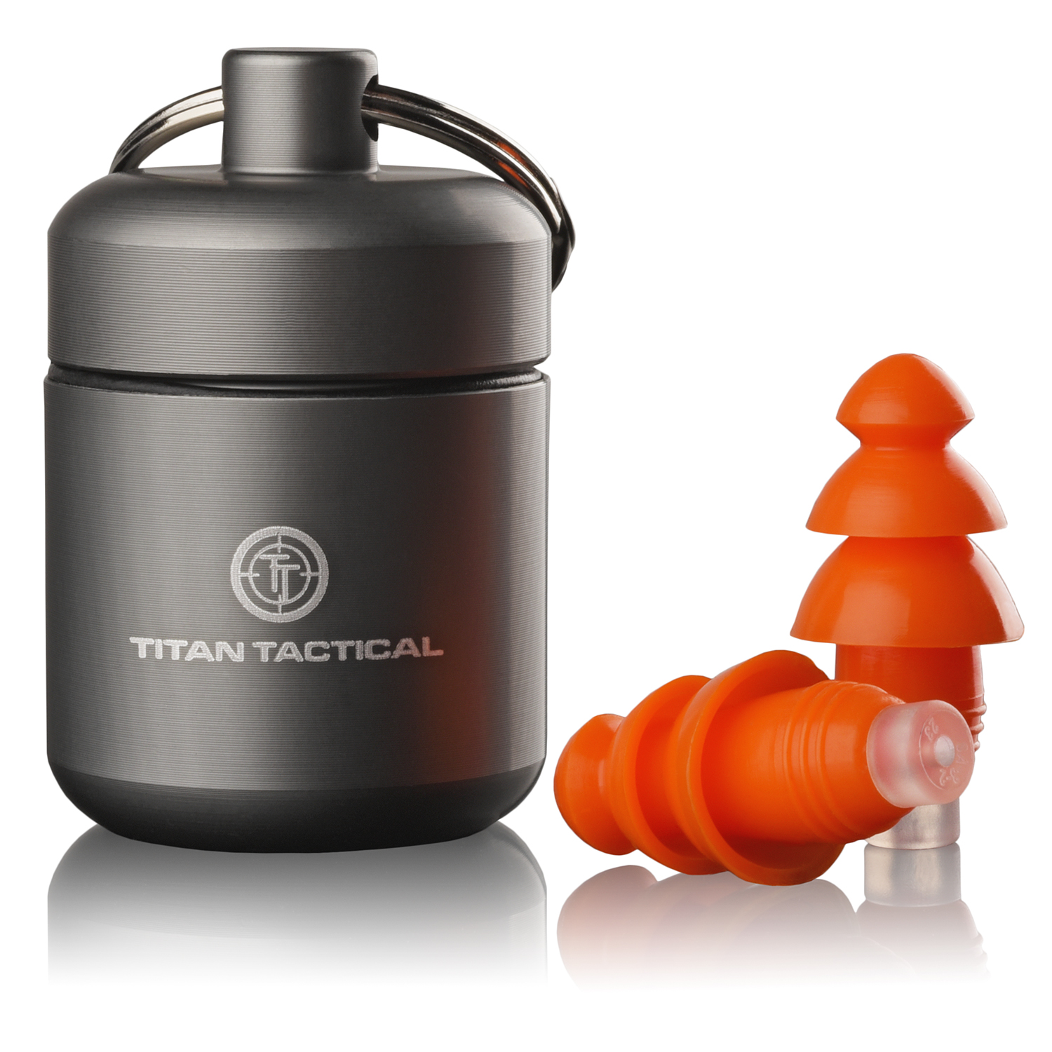 Titan Tactical 29NRR Reusable Shooting Ear Plugs w/ Removable Noise Filter + Heavy Duty Aluminum Case (for Normal + Small Ear Canals)