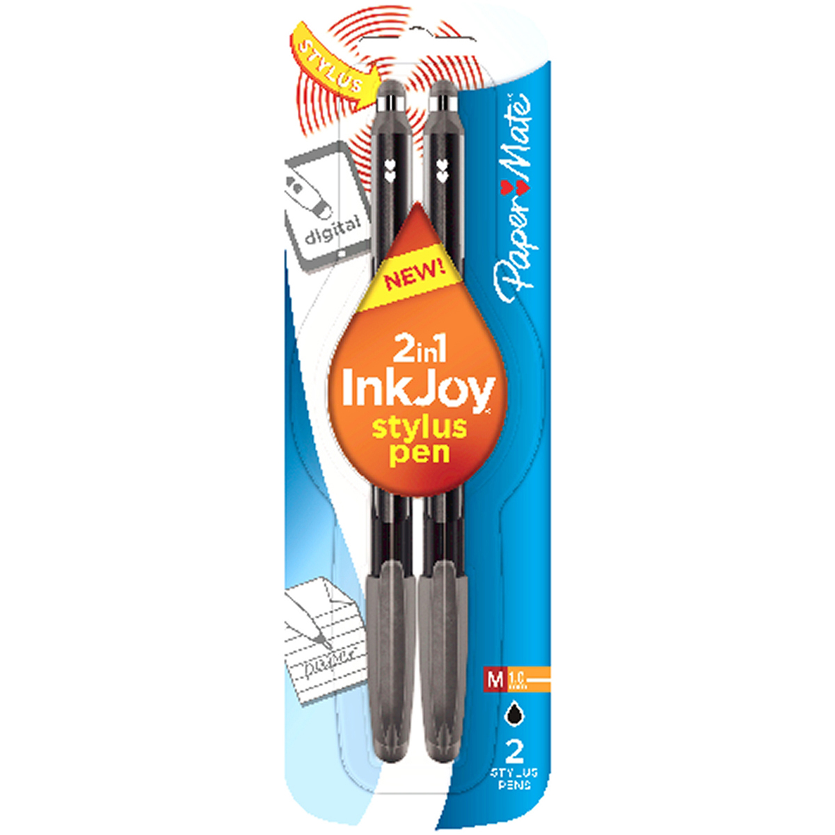 InkJoy Gel Pen 1.0mm with Stylus 2/Pkg-Black