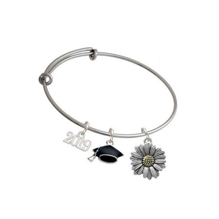 - Two-tone Large Daisy Flower - 2019 Graduation Charm Bangle Bracelet