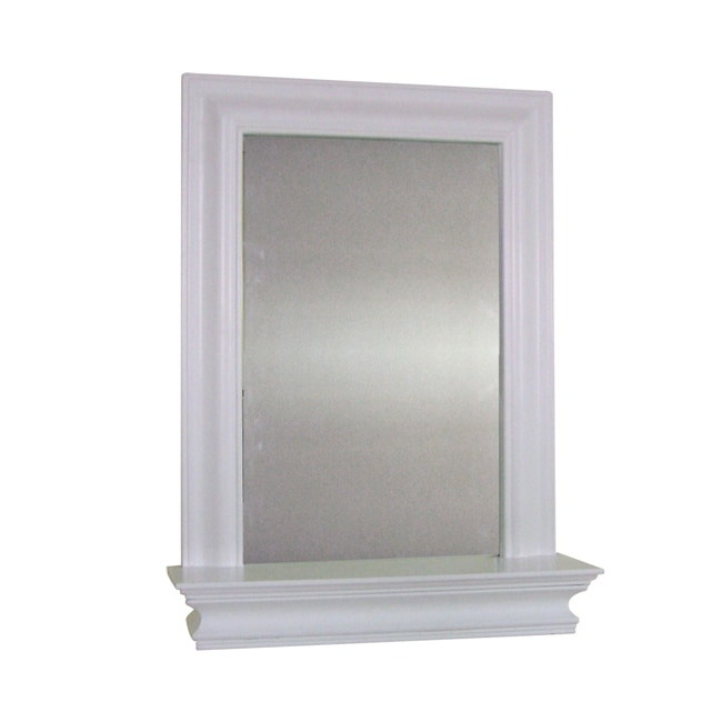 Click here to buy Essential Home Furnishings Kingston White Wall Mirror with Shelf by Overstock.