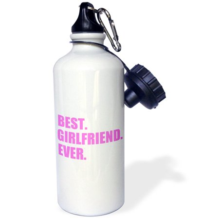 3Drose Pink Best Girlfriend Ever Text Anniversary Valentines Day Gift For Her  Sports Water Bottle  21Oz