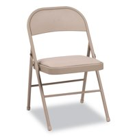 Alera Steel Folding Chair with Two-Brace Support, Padded Seat, Tan, 4/Carton