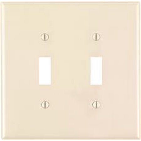 LEVITON TOGGLE SWITCH WALLPLATE, 2-GANG, MIDWAY SIZE, LIGHT (Toggle Switch Almond)