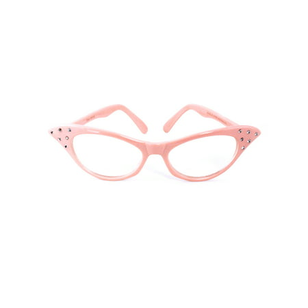 Pink Cat Eye Glasses with Rhinestones - Hey Viv 50s Style](50s Style Glasses)