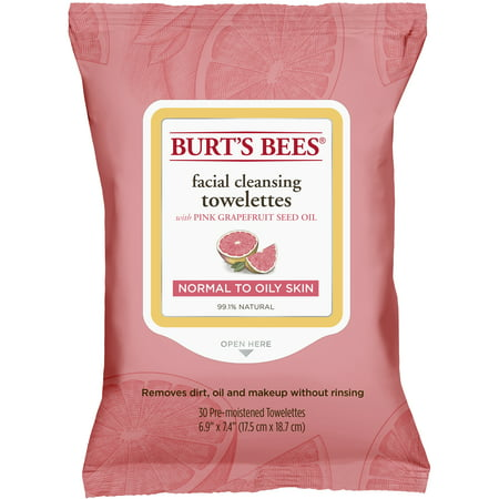 Ponds Cleansing Towelettes ((2 pack) Burt's Bees Facial Cleansing Towelettes for Normal to Oily Skin, Pink Grapefruit, 30 ct)