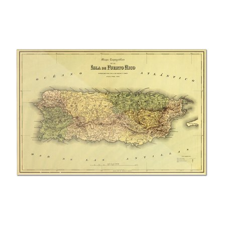 Puerto Rico - (1886) - Panoramic Map (12x8 Acrylic Wall Art Gallery Quality)