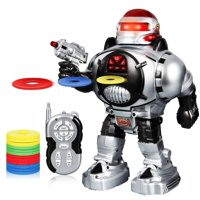 Robot Toy Remote Control Programmable Robot for Boys Girls Kids Gift Present, LED Illuminated Eyes, Cool Sound Effects Machine Gun Robotics Talking Walking RC Robot Bright LED Lights Disc-Firing