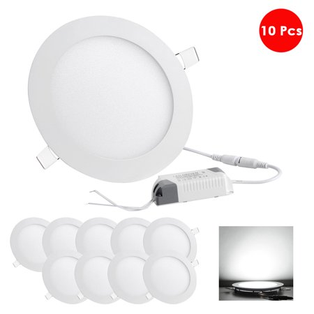 DELight 9W 12W Ultra-thin LED Flat Panel Light, 6500K 80W Equivalent, LED Recessed Ceiling Down Light, 10 Pack