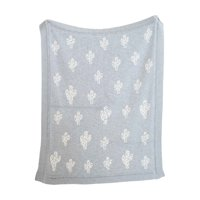 3R Studios Grey Cotton Knit Cactus Blanket