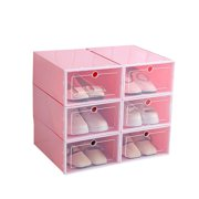 Portabl Durable Plastic Clear Shoe Storage Transparent Boot Box Stackable Case Organizer