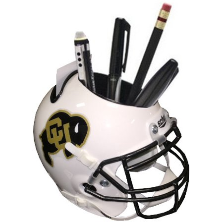 Colorado Buffaloes (White) NCAA Football Schutt Mini Helmet Desk Caddy