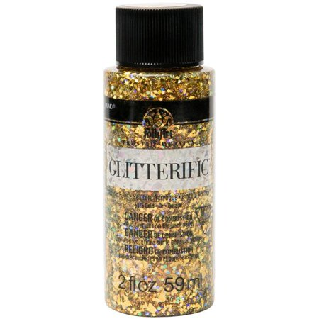 Plaid Folkart Glitterific Paint 2Oz Gold - image 1 of 1