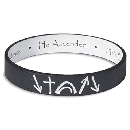Black and White He Came He Died He Arose Witness Reversable Silicone Stretch Bracelet, 8 Inch - Silicone Bracelets Bulk