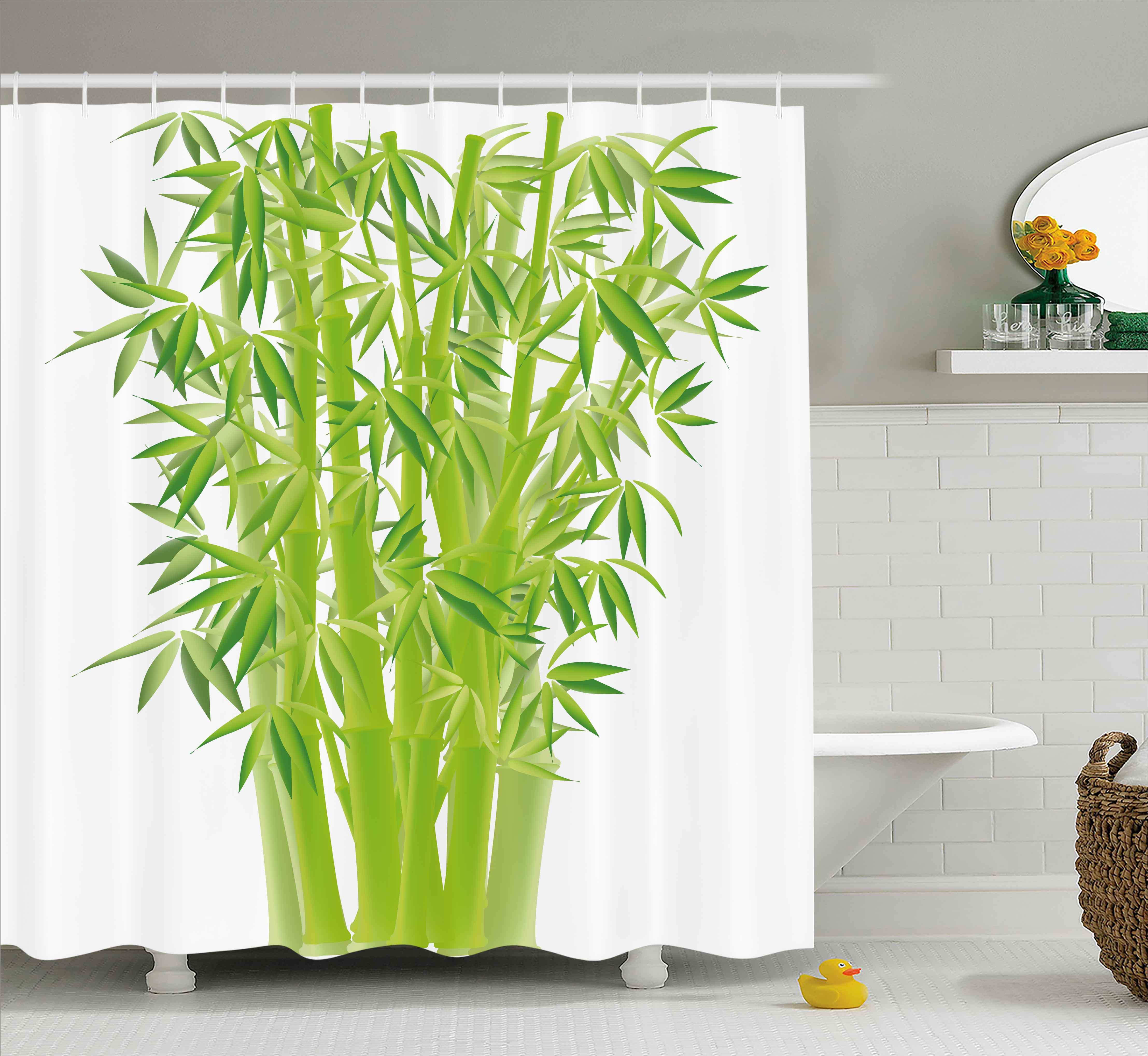 Garden Curtains Bathroom Set Mat Waterproof Green Bamboo