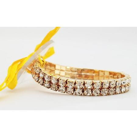 Floral Corsage Bracelet in Gold, Rhinestone Paris Lights Collection