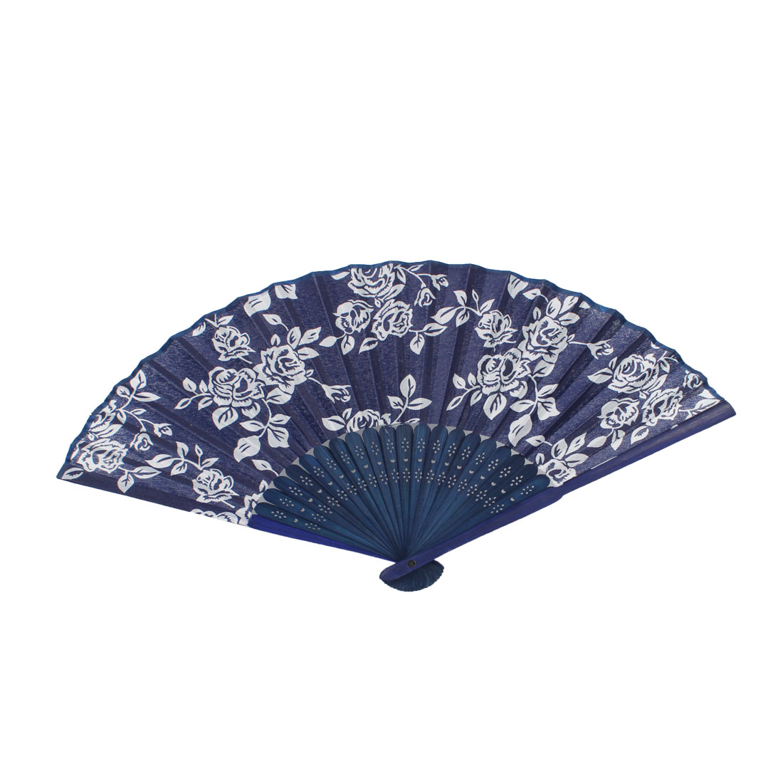 Rose Printed Bamboo Frame Fabric Folding Hand Fan White Navy Blue