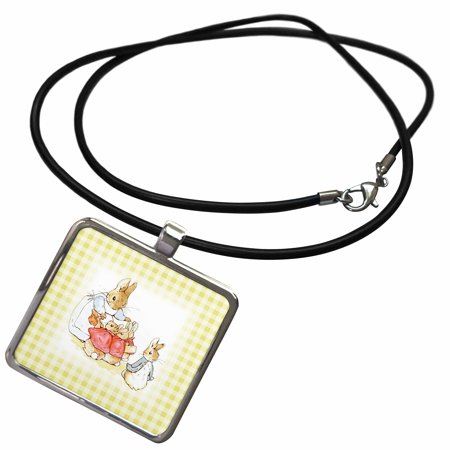 3dRose Image of Peter Rabbit On Cream Checks - Necklace with Pendant (ncl_234301_1) (Peter Rabbit Silver Plated)