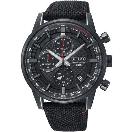 Seiko Men's 43.9mm Black Cloth Band Titanium Case Hardlex Crystal Quartz Analog Watch -