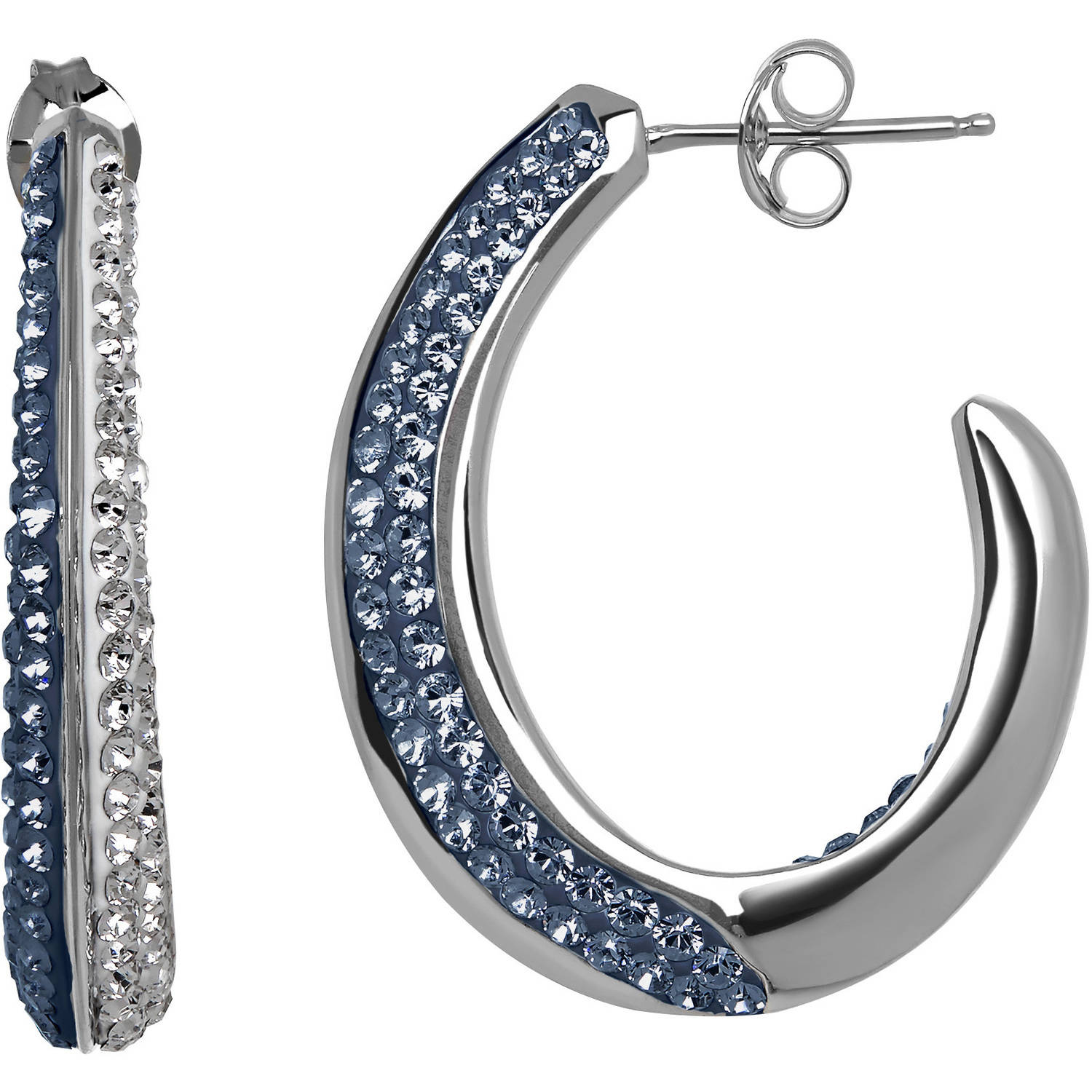 Luminesse Swarovski Element Sterling Silver Blue and White Hoop Earrings