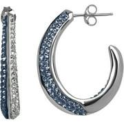Swarovski Element Sterling Silver Blue and White Hoop Earrings