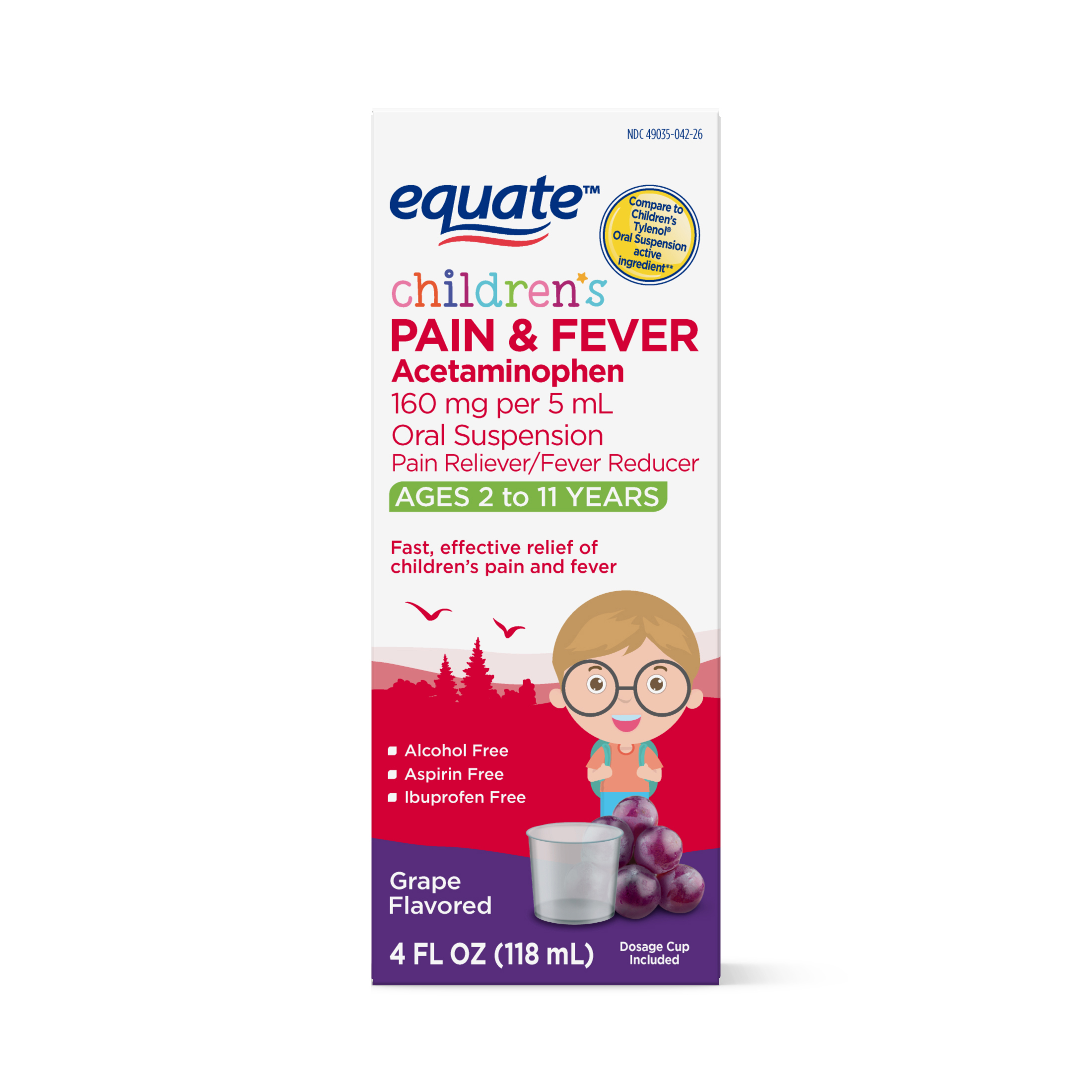 Equate Childrens Acetaminophen Grape Suspension, 160 mg, 4 Oz