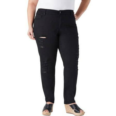 fd2b81ebac Faded Glory - Women's Plus-Size Skinny Distressed Jeans - Walmart.com