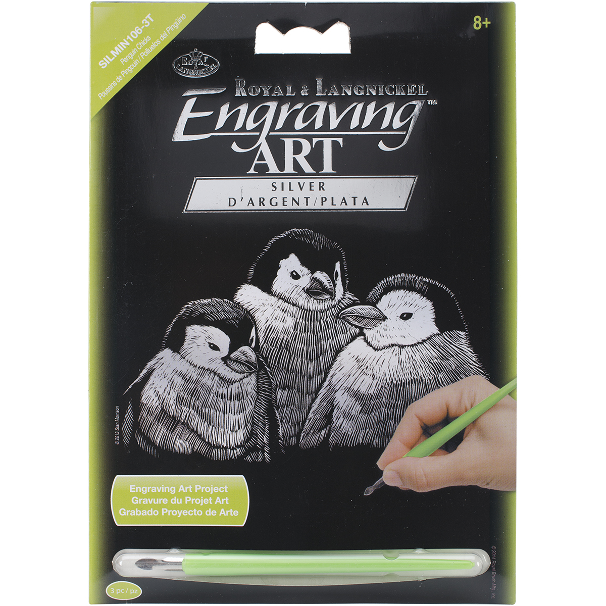 "Silver Foil Engraving Art Mini Kit 5""X7""-Penguin Chicks"