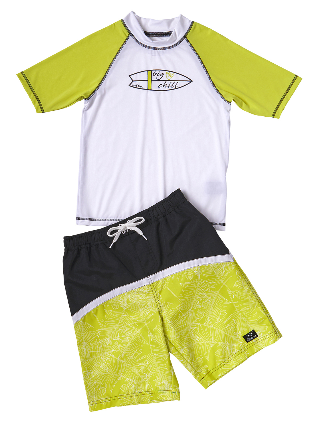 Palm Print Swim Trunk and Rash Guard, 2-Piece Outfit Set (Little Boys)