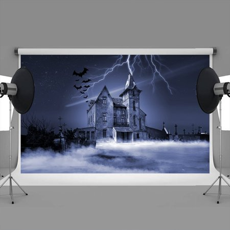 HelloDecor Polyster 7x5ft Christmas backdrops Halloween background bats church lightning christmas tree decorations