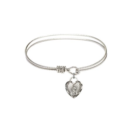 7 1/4 inch Oval Eye Hook Bangle Bracelet w/ Our Lady of Guadalupe Heart in Sterling Silver