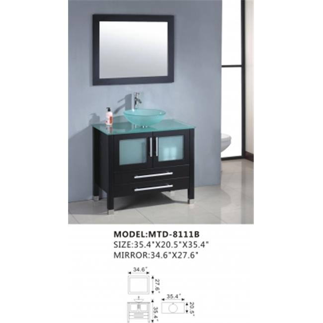 MTD Vanities MTD-8111B 36 inch Glass top Modern Bathroom ...