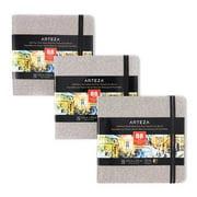 Arteza Watercolor Sketchbooks, 5.5x5.5-inch, 3-Pack, 132 Sheets, Gray Art Journal, Hardcover 110lb Paper Book, Watercolor Sketchbook For Use as Travel Journal and Mixed Media Pad