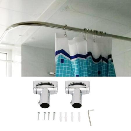 Practical Stainless Steel Brushed Nickel Curved Shower Curtain Rod Bath Area Bathtub Accessory Lu Type Bathroom