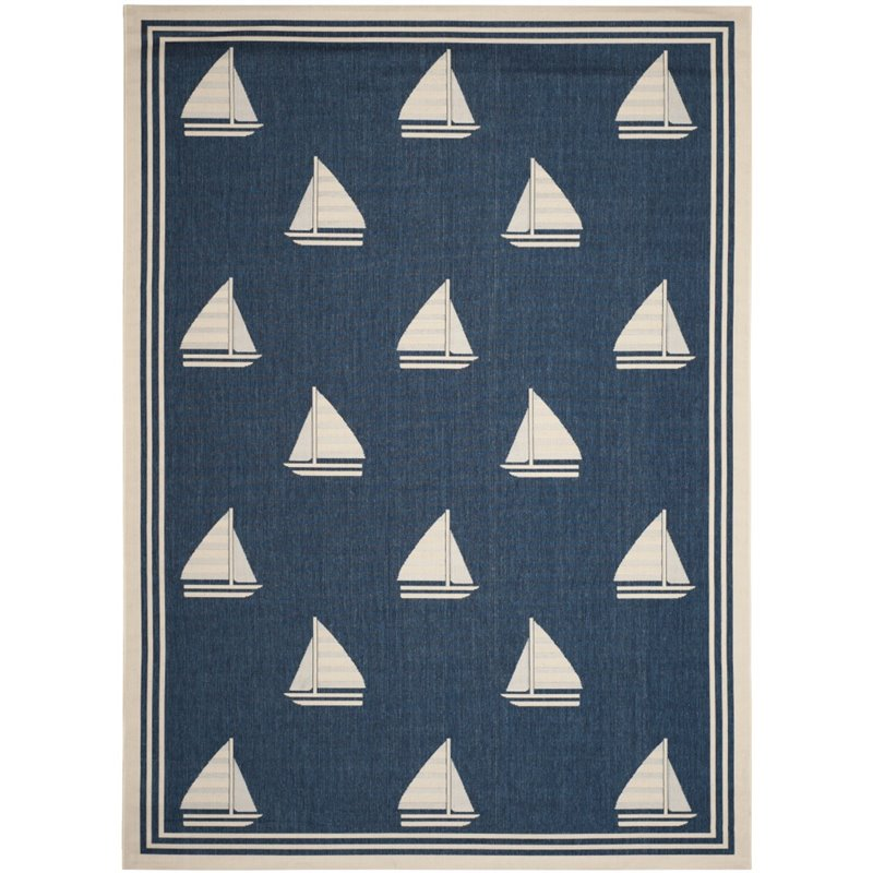 """Safavieh Courtyard 2'7"""" X 5' Power Loomed Rug in Navy and Beige - image 3 of 3"""