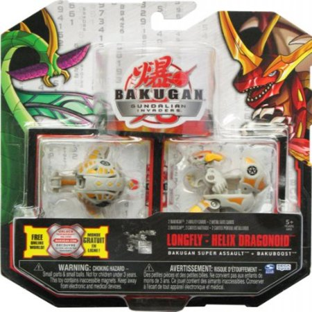 Bakugan Gundalian Invaders New Super Assault 2 Pack (Gray) Haos LONGFLY and  HELIX DRAGONOID w/DNA CODE (FACTORY SEALED)