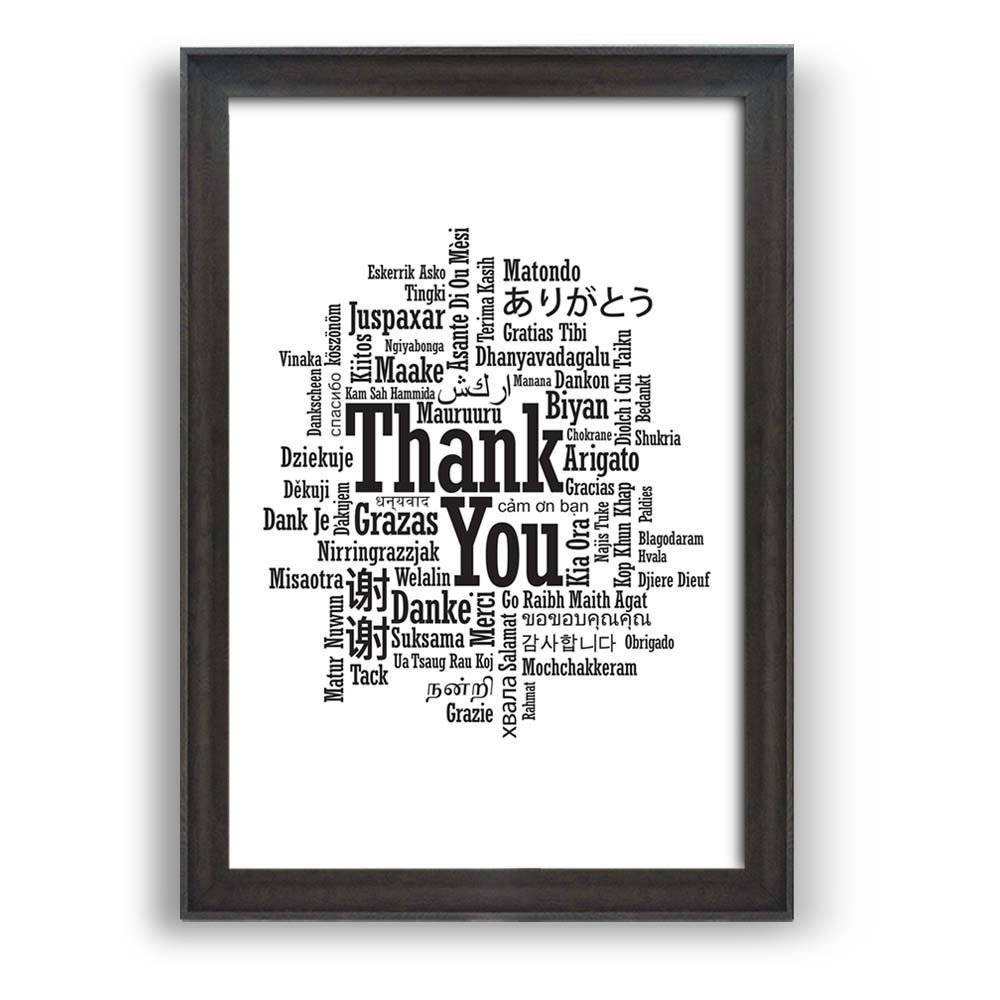 """wall26 - Framed Wall Art Prints - Thank You in Various Languages - Modern Home Decoration. Ready to Hang - Dark Coffee Brown Frame - 16""""x24"""""""