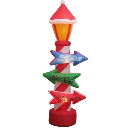 Home Accents Holiday Inflatable 8 ft. Lamp Post Featuring Three Colorful Signs