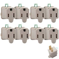 8 Pcs 3 Prong to 2 Prong Outlet Electrical Ground AC Adapter Grounding Converter