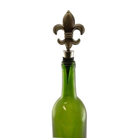 (D) Wine Bottle Stopper Fleur De Lis, Wine Storage Twist Cap, Bar Counter