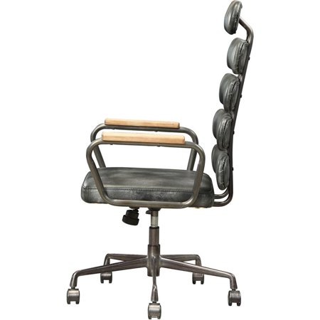 ACME Calan Leather High Back Adjustable Swivel Office Chair in Black - image 4 de 6