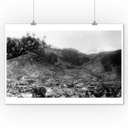 Manitou Springs, Colorado - Panoramic View of Town Photograph (9x12 Art Print, Wall Decor Travel Poster)