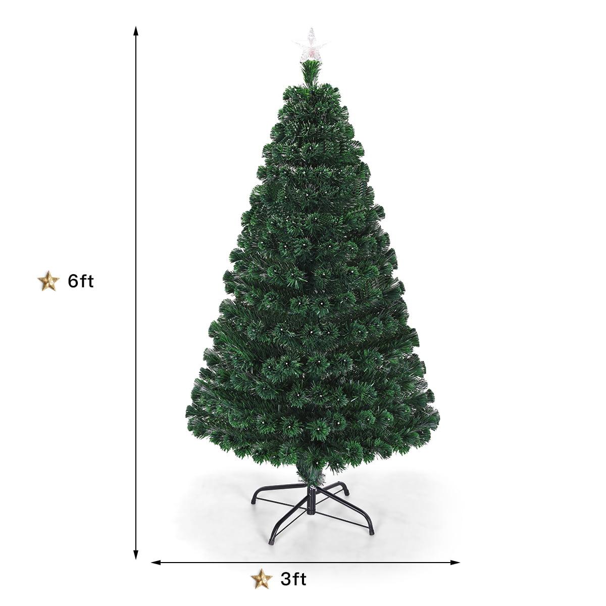 Costway 5 6 7 Pre Lit Fiber Optic Christmas Tree Multicolor Lights Walmart Com Walmart Com