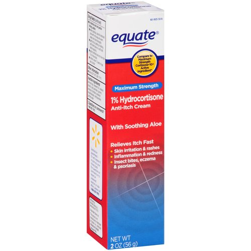Equate Maximum Strength, 1% Hydrocortisone Anti-Itch Cream with Soothing Aloe, 2 oz