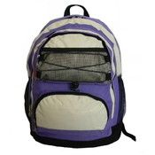 "18"" Backpack w/2 main compts, 18""x13""x8"",Purple/Beige."