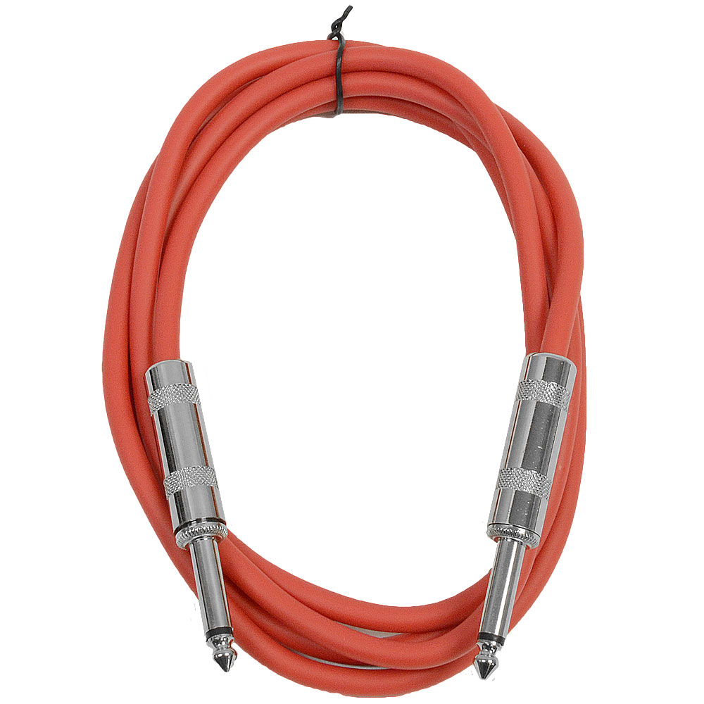 "Seismic Audio  - Red 1/4"" TS 6' Patch Cable - Effects - Guitar - Instrument Red - SASTSX-6Red"